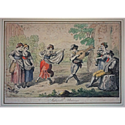 Early 1815 Antique Roman Engraving Saltarello Romano / Folk Dance Signed Bartolomeo Pinelli - c. 1815, Rome