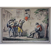 Early 1815 Antique Roman Engraving La Serenata - Costumi di Roma / The Serenade Signed Bartolomeo Pinelli - c. 1815, Rome