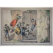 Early 1815 Antique Roman Engraving La Canofiena in Roma  Signed Bartolomeo Pinelli - c. 1815, Rome