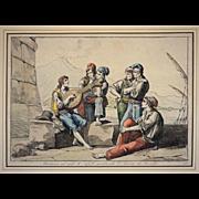Early 1815 Antique Roman Engraving Marinari sul moo di Napoli ascoltando l'Istoria di Rinaldo / Naples Street Poets Bartolomeo Pinelli - c. 1815, Rome