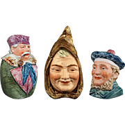 Collection 3 Austrian Majolica Figural Humidor Tobacco Jar Man Pipe, Monk, Scotsman