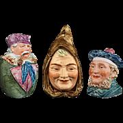 Collection 3 Austrian Majolica Figural Humidor Tobacco Jar Man Pipe, Monk, Scotsman