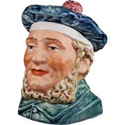"Austrian Majolica 6"" Figural Man Scotsman Humidor Tobacco Jar 2547 20 Tobacciana Scottish Blue Bonnet"