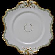 Old Paris Porcelain Scalloped Plate Gilt Green White - 19th Century, France