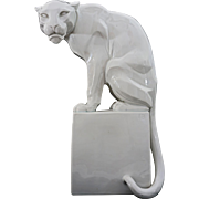 Augarten Art Deco Panther Austria after Franz Barwig Ceramic Figure on Base Large 1630 - 20th Century, Vienna