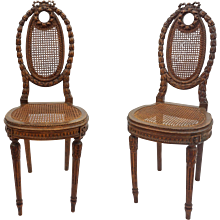 Pair Louis XVI Style Petite Side Chairs with Caning Carved Laurel Wreath - 19th Century, France