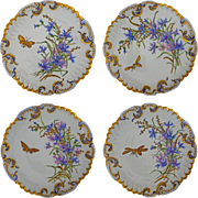 Four Antique Limoges Butterfly Wild Flower Spray Gilt Set - 19th Century, France