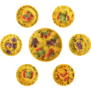 Set Sarreguemines Fruit Platter and Six Plates Golden Yellow - 1920-1950 mark, France