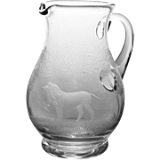 Rowland Ward Nairobi Pitcher / Jug Crystal Hand Etched Lion Big Game Theme - 20th Century, West Germany