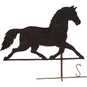 Americana Folk Art Black Horse Vane Iron Sheet Metal on Stand Large - USA
