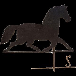Americana Folk Art Black Horse Vane Iron Sheet Metal on Stand Large - USA