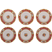 Set 6 Pink Chinoiserie Alfred Meakin Plates Osiris Chateau - 19th Century, England
