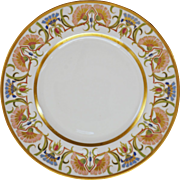 Limoges France Art Nouveau Porcelain Plate Gilt Floral Border - 19th Century, France