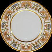Limoges France Art Nouveau Porcelain Plate Gilt Floral Border - 19th Century, France