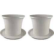 Pair KPM Large Modern Porcelain Cache Pot / Planter /Jardiniere White with Under Plates - 20th Century, German