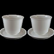 Pair KPM Modern Medium SIze Porcelain Cache Pot / Planter /Jardiniere White with Under Plates - 20th Century, Germany