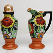 Noritake Art Deco Creamer and Sugar Shaker