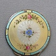 Enamel and Sterling Floral Purse Mirror
