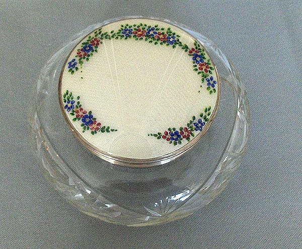 English Enamel and Sterling Silver Large Powder Jar