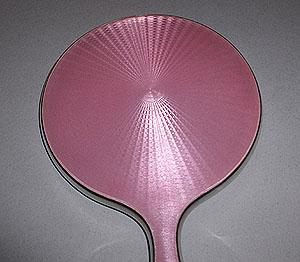 English Sterling and Pink Enamel Mirror