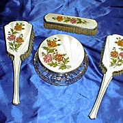 4 Piece  English Sterling White Enamel and Floral Dresser Set