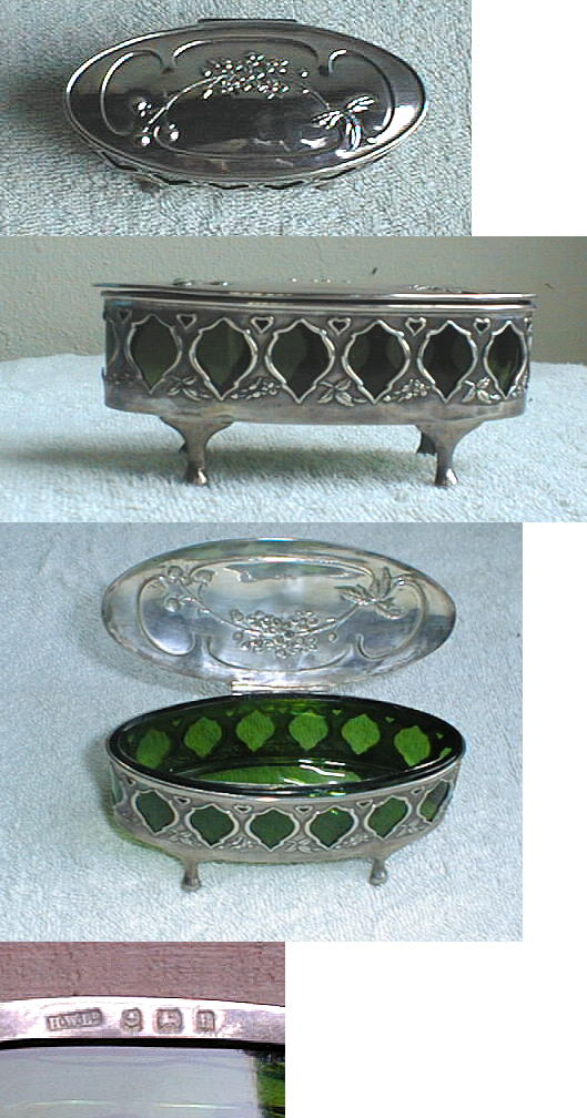 English Sterling Trinket Box With Green Crystal Liner