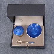 Sterling and Blue Enamel Salt & Pepper Set in Original Box