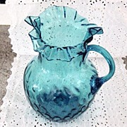 Vintage Hand Blown Aqua Blue Pitcher