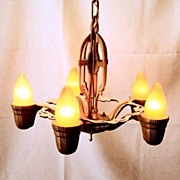 Vintage Cast Iron Historic Revival 1920's 5 Bulb Fixture
