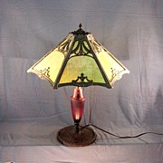 Antique  Art Glass Lamp 5 Panels In Roman Deco Styling