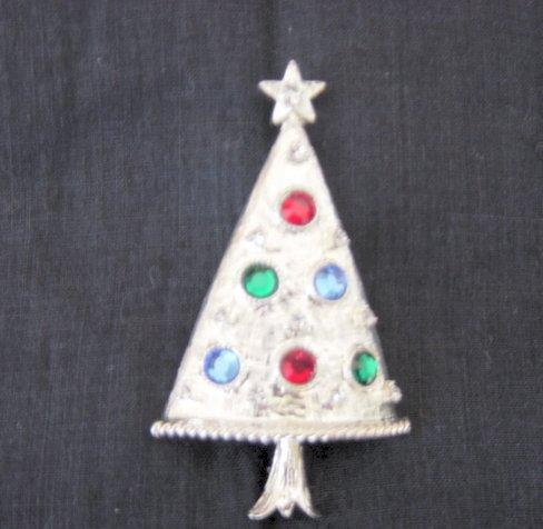 Eisenberg Ice Silver Metal And Stones Christmas Tree Brooch