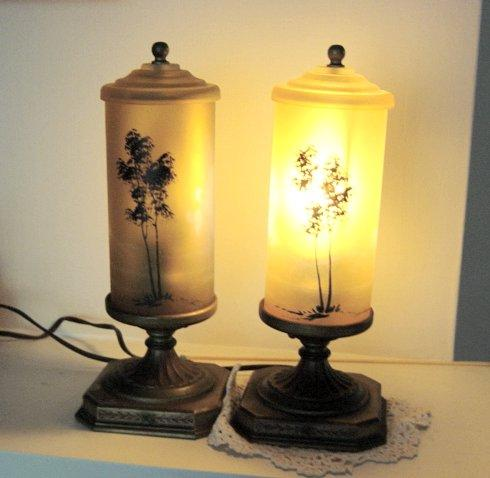 Antique Fancy Art Noveau Brass/Amber Shades Lamps Ca 1920's