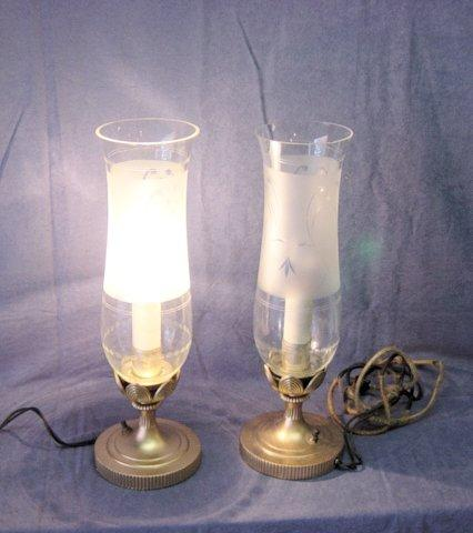 Antique candle bulb lamps with etched chimneys from abbaspast on ruby