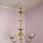 Antique Brass Double Gas Hanging Light Fixture Ca.1860's