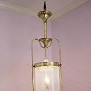 Antique Rare 1860's Solid Brass Hanging Pendant Gas Fixture/Opalescent Shade