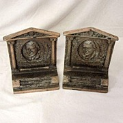 Antique James Whitcomb Riley Bronze Cast Iron Book Ends