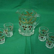 Childs Westmoreland Pitcher And Glasses Cherries And Gold Glass Set