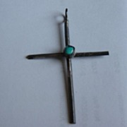 Vintage Sterling Silver With Turquoise Center Cross