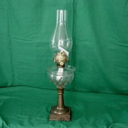 Panel Indented Thumb Print Font Oil Lamp ca1890's
