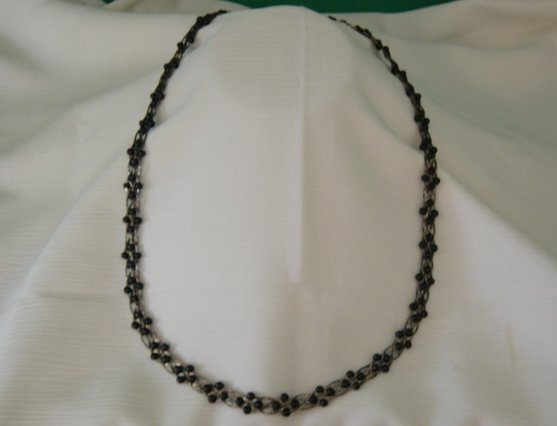 Vintage Black Beads And Sterling Silver Necklace