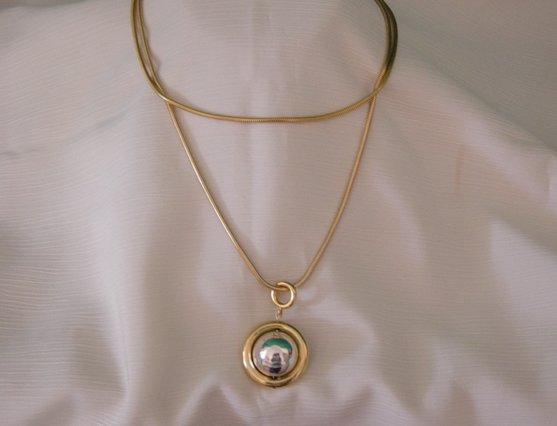 Bright Polished Gold Chain Necklace With Drop Circle And Ball