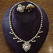Vintage Pastel Moonstones And Diamante Stones Prong Set Necklace /Earrings