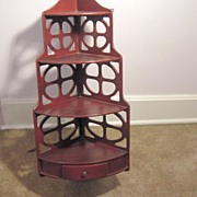 Vintage 4 Shelf With Drawer Corner Shelf
