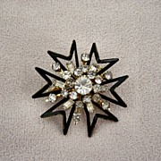 Coro Black Enamel And Bagette And Chaton Stones Brooch