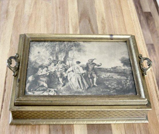 Vintage Victorian Picture Dresser Box Or Bible Box