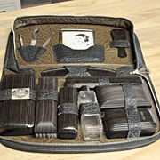 Vintage Man's Zipped Leather Travel Case