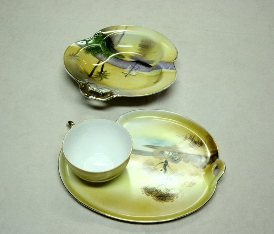Noritake Hand Painted Barn Scene Snack And Bowl Set