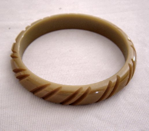 Carved Bakelite Carmel Color Bangle Bracelet