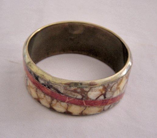Overlaid On Gold Tone Metal Mosiac Bangle Bracelet