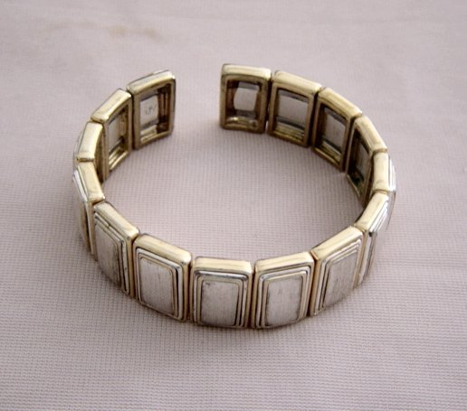 Clamp Brushed Silver And Polished Gold Bracelet